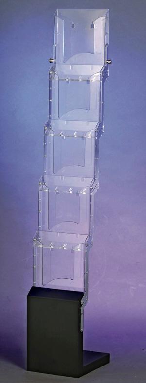 présentoir transparent plv pour document en métal et plexi forme Cascade
